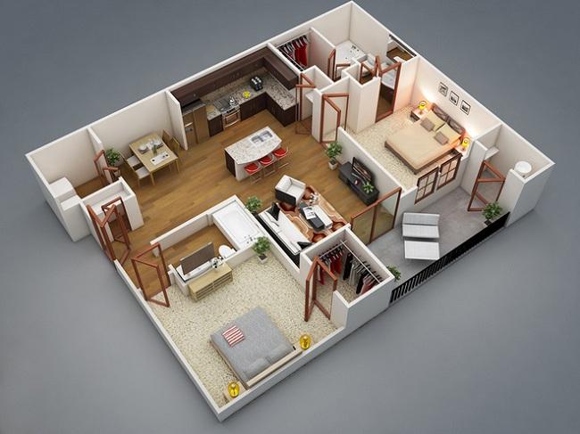 Hai phòng ngủ đều có được sự riêng tư tối đa với phòng vệ sinh, phòng tắm và tủ quần áo liền kề.