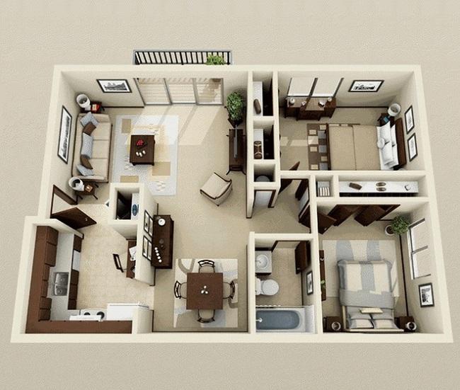 Kiểu nhà chia thành hai khối tách biệt rõ ràng: chỗ ngủ nghỉ và sinh hoạt chung.