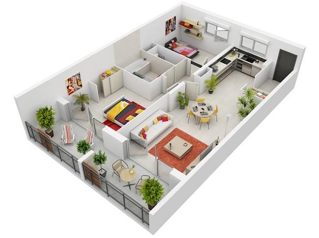 Khi nhà có hình dạng chữ nhật, bạn nên chia đôi ra khu ngủ nghỉ và khu sinh hoạt chung.