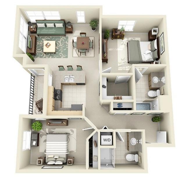 Nếu muốn có đầy đủ phòng ngủ khép kín khu vệ sinh, diện tích để kê giường và nội thất phòng ngủ sẽ bị giảm.