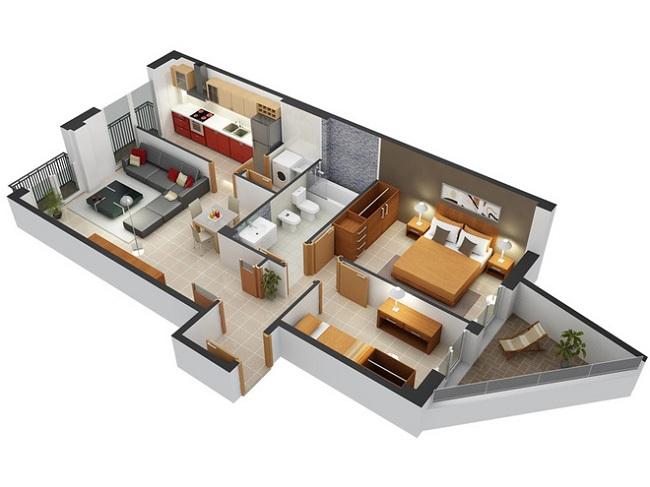 Với những căn hộ nhỏ, kiểu bố trí hai phòng ngủ liền nhau, chung một nhà vệ sinh phía ngoài là giải pháp hợp lý.