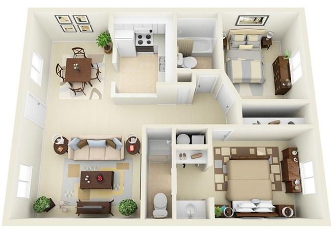 Cách tạo hai phòng ngủ lớn và nhỏ trong không gian vừa phải.