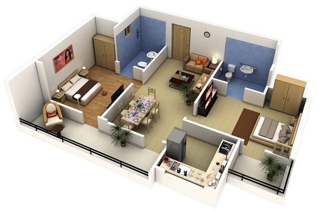 Bố Trí Căn Hộ 2 Phòng Ngủ hiện đại